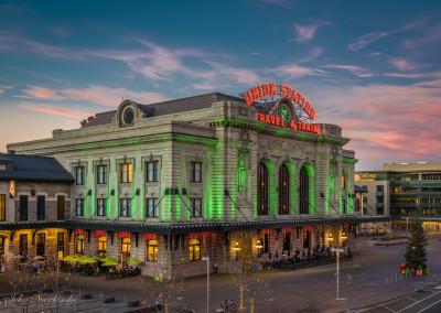 Denver Union Station at Sunset Christmas Decorations